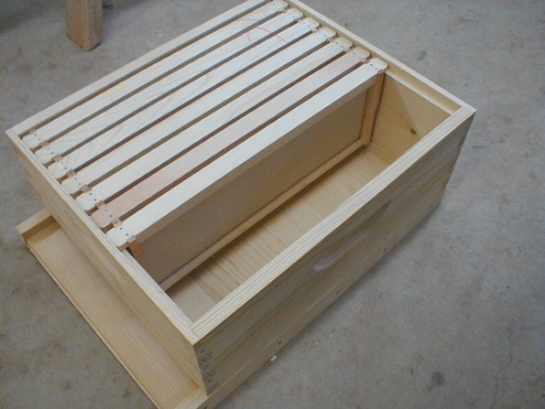 bee hive bottom board, super and frames