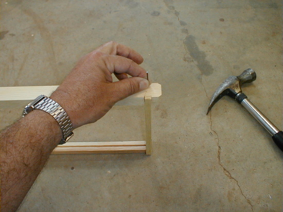 honey bee hive frame assembly - nailing top bar